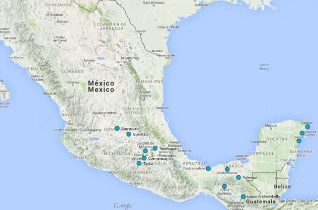 Mapa de los principales puntos visitados en México (click para ampliar)